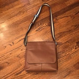 Coach leather crossbody with canvas stripe strap